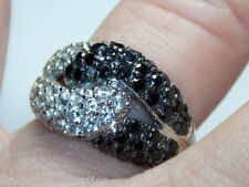 STERLING SILVER 925 ESTATE BLACK CLEAR CUBIC ZIRCONIA LOVERS KNOT RING SIZE 7.5