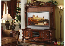 Dresden Antique Style Ornate TV Stand & Hutch In Traditional Cherry Oak