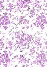 Purple White Rose Floral Toile Vinyl Contact Paper Shelf Drawer Liner Peel Stick