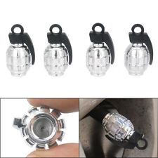 4X Grenade Design Car Truck Bike Wheel Rims Stem Air Valve Cap Tyre Cover Silver