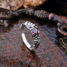Solid 925 Sterling Silver Classic Womens Gothic Style Flower Garnet Ring Sz 6