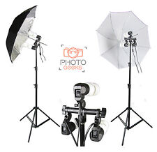 Continuous Umbrella Photo Lighting Studio Kit - Shoot Through Silver Photography