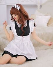 Black French Maid Night Party Costume Outfit Lingerie, Cosplay Fancy Dress