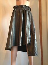 BALLY ITALIAN DESIGNER NEW WOMEN LEATHER BROWN WRAP ASYMMETRICAL SKIRT 44 / 10 M