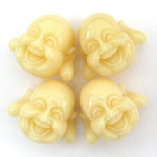 18mm synthetic cream coral carved buddha pendant bead 4pcs