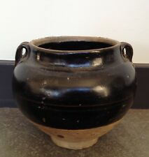 Antique Chinese Song Dynasty Black Glazed Two Lug Vessel Vase (960 - 1279)