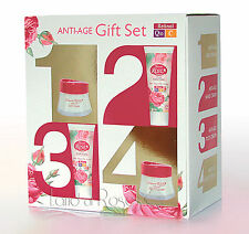 NATURAL ROSE ANTI-AGE GIFT SET WITH DAY AND NIGHT FACE CREAM, HAND & FOOT CREAM