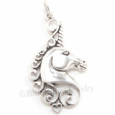 MYTHICAL UNICORN Filigree design HEART 925 Charm Pendant STERLING SILVER jewelry