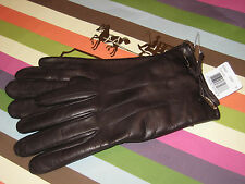 New Coach Leather & 100% Cashmere Gloves Chocolate Brown, 83865, size 8 Receipt!