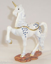 TREASURES UNICORN PEWTER BEJEWELED HINGED TRINKET / JEWELRY /  PILL BOX