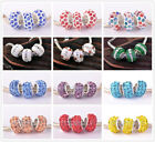 5pcs Murano Lampwork Glass Resin Rhinestones European Charm Loose Big Hold Beads