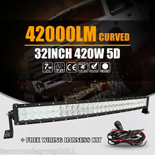 """5D CREE CURVED 32INCH 420W LED LIGHT BAR SPOT FLOOD BEAM OFFROAD 34"""" 35"""" 31"""" 30"""""""