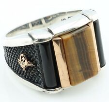 925 Sterling Silver Tiger Eye & Onyx  Men`s Ring -US Seller-All Sizes 8-12 K60