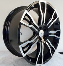 "22"" HAWKE SAKER BLACK POLISHED ALLOY WHEELS 5X112 MERCEDES G M ML & R CLASS"