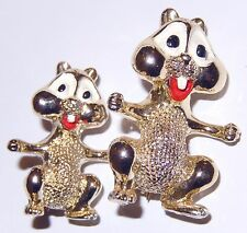 CHIPMUNK Animal Pin Brooch Mother and Baby SET 2 Scatter Pins Vintage