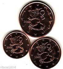 lot 1,2,5 cts cent euro Finlande / Finland 2000 qualité UNC !!! voir scan