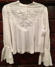 NEW Free People Boho Chic Femme Fatale Bell Sleeve Top Blouse Ivory SZ Med $108
