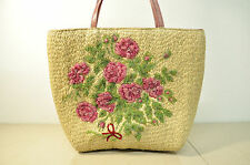 VALENTINO GARAVANI Floral Tote Bag Straw Handbag Purse Leather Trim