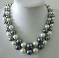 2 Rows Black White South Sea Shell Pearl 18KWGP Clasp Necklace