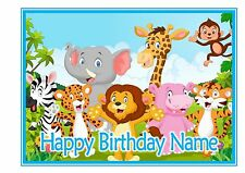 ND3 A4 Jungle Animals Cute cartoon Personalised cake topper icing