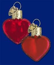 BOX OF 12 SHINY MATTE FINISH SMALL RED HEART OLD WORLD CHRISTMAS ORNAMENTS 30010