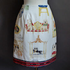 PREPPY LAP DOG BLUE WHITE CHINESE PORCELAIN FABRIC SKIRT FISHER ISLAND NY SIZE 8