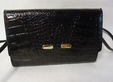 VINTAGE BLACK CROC PRINT LEATHER SHOULDER BAG HANDBAG