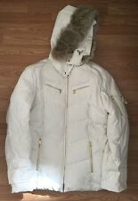 Bogner $1699 White Ivory Down Ski Winter Snow Parka sz 12 L 42 Womens Hood