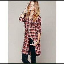 Free People 'Double Cloth' Button Down Tunic Plaid Sz S Red Maxi Dress