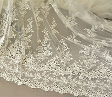 "Ivory Embroidery Bridal Lace Fabric 51"" Wide Floral Corded Lace Fabric 1/2 Meter"