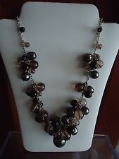 Gorgeous Talbots silver chain necklace w/ gray, black & brown glass beads