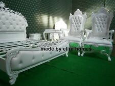 STOCK Very Large White Wedding chair not lion throne upholster with faux leather