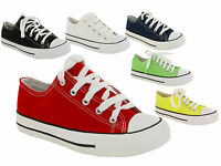 LADIES WOMENS GIRLS FLAT PLIMSOLLS PUMPS CASUAL LACE UP CANVAS SHOES TRAINERS