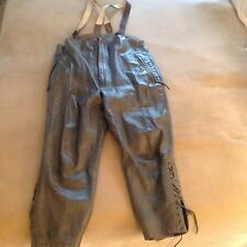 Vintage German Grey Leather Submarine Trousers with Suspenders, Exc. Cond.