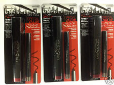 3 X Maybelline Stiletto Mascara & Cream Shadow BROWNISH BLACK/STARLET SABLE 04