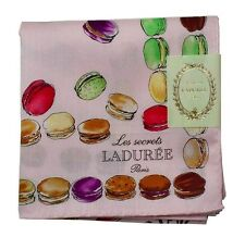 New LADUREE Paris Handkerchief / Mini Scarf Macarons Ribbon Charms Pink JAPAN