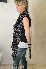 gilet chale en soie et viscose noir femme HIGH USE taille 38 NEUF ÉTIQUETTE
