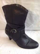 Emotion Black Mid Calf Leather Boots Size 6