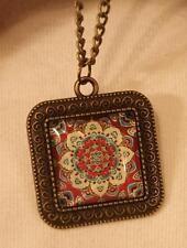 Lovely Swirl Rim Brasstn Burgundy Blue Flower Mandala Cameo Pendant Necklace