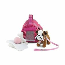 18 Inch Doll Accessories | Adorable Pink Pet Carrier and Bulldog Puppy Dog wi...