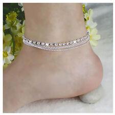 Girl Women 925 Silver Plated Crystal Chain Bangle Cuff Charm Bracelet Jewelry
