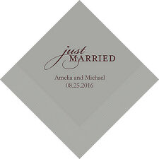 100 Just Married Personalized Wedding Cocktail Napkins