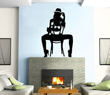 Sexy Hot Girl On The Chair Shadow Beautiful  Wall Art Decor Vinyl Sticker z196
