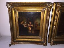 Antique Dutch Old Master Oil Painting w Gold Frame - Dog, 3 Boys & Old Woman