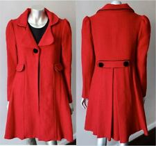 Two Piece Skooter Vintage 60s Knit Mod Gogo Tweed Red Black Dress Coat Suit S+M