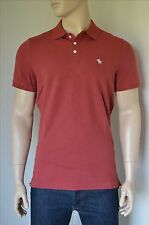 New abercrombie & fitch coupe extensible icône logo polo shirt rouge bourgogne moose xxl