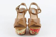 Steve Madden Chunky Heel Tan Leather Straps and Green and Orange Heel Size 7.5