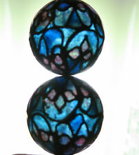 2 PLIQUE A JOUR BEADS HANDMADE ROUND VINTAGE EARRINGS OR NECKLACE STAINED GLASS