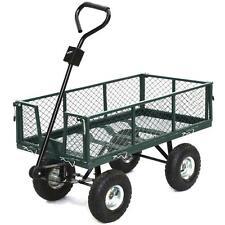 Steel Utility Garden Cart Wagon trailer Heavy Duty dumper Wheel barrow Lawn Yard