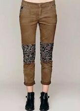 Free People olive Ditsy patched twill Skinny Jeans Trousers pants 4 Runs Big